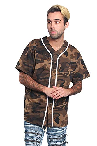 Men's Classic Baseball Jersey with Trim BJ42 - Olive Camo - 3X-Large - KK6B