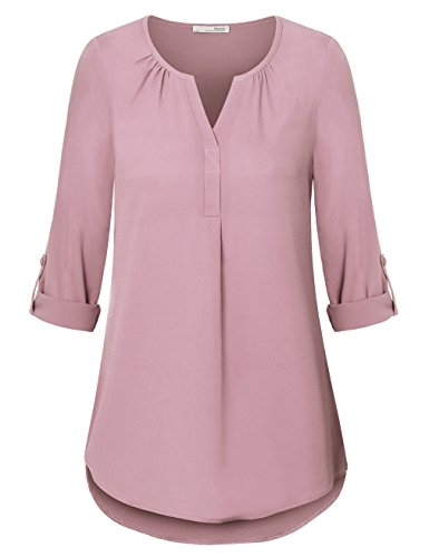 Pink Spring Dress Jeans - Messic Womens Tops and Blouses, Ladies Roll up Sleeve V Neck Curved Hem Solid Loose Work Tunic Tee Shirt(Medium,Pink)