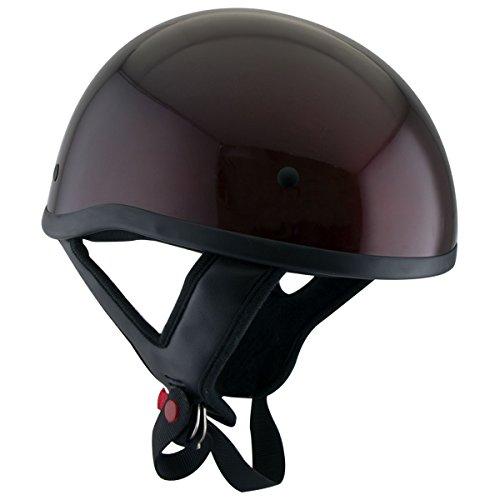 Skull Cap Dot Helmets Motorcycle (Outlaw T68 DOT Wine Motorcycle Skull Cap Half Helmet - Medium)