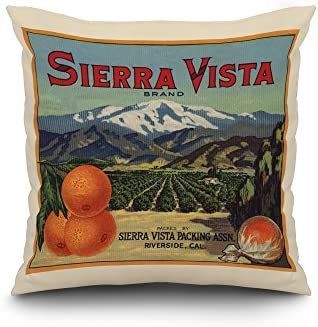 Lantern Press Sierra Vista Brand – Riverside, California – Citrus Crate Label 20×20 Spun Polyester Pillow, White Border