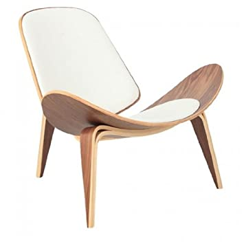 Exceptional Wegner Leather Shell Chair   White Leather