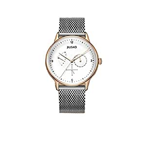 Slim men's watch,Waterproof business casual fashion watch slim sleek alloy case simple design classic calendar calendar window-A