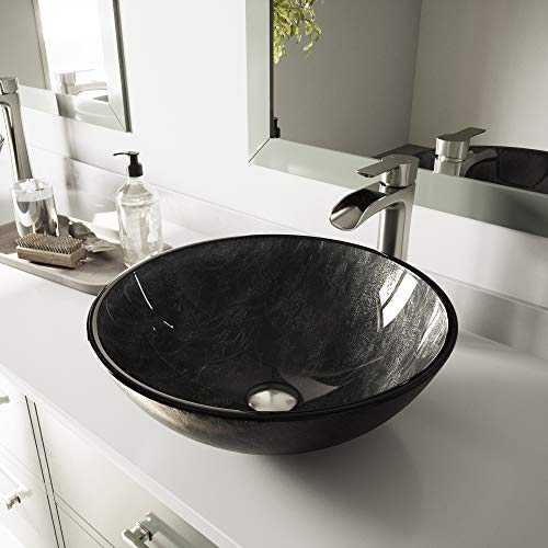 VIGO Gray Onyx Glass Vessel Bathroom Sink and Niko Vessel Faucet with Pop Up, Brushed Nickel