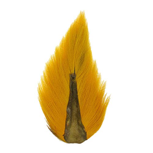 (Ameglia Large Northern BUCKTAIL - Artificial Fly Tying Deer Tail Hair JIG Tying (Color - Yellow))