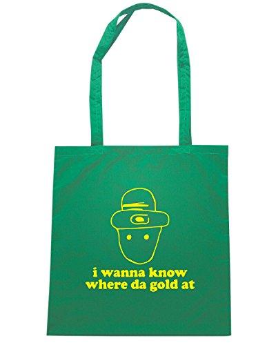 T-Shirtshock - Bolsa para la compra TIR0079 i wanna know where da gold at dark tshirt Verde