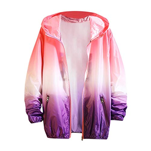 Women Men Couples UPF 50+ Rash Guard Athletic Tops,Printing Long Sleeve Sunscreen Hooded Sweatshirt Pullover Tops Purple]()