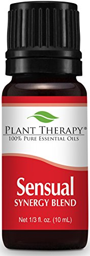 Plant Therapy Sensual Synergy Aphrodisiac Essential Oil Blend. 100% Pure, Undiluted, Therapeutic Grade. Blend of: Ylang Ylang, Patchouli, Orange, Lavender, Sandalwood and Jasmine. 10 ml (1/3 oz).