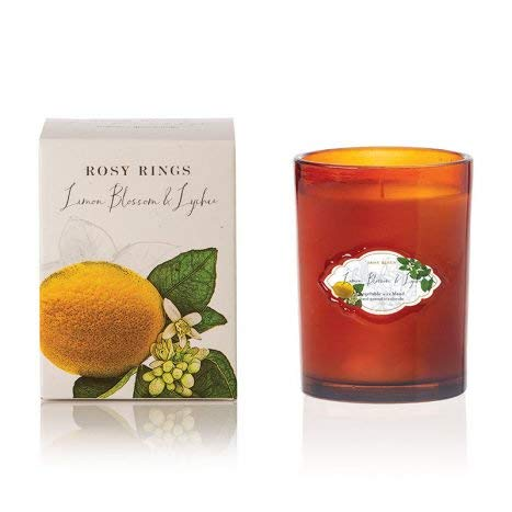 Rosy Rings Signature Glass Candle - Lemon Blossom and - Lychee Scented Candle