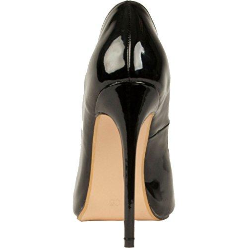 Calaier Kvinners Foringsrør Titte-toe 14cm Stilett Slip-on Sko Sorte