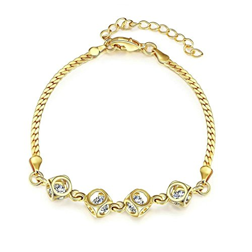 Bishilin Copper Gold Wheat Hollow Cube With Crystal Bracelet For Women On Wedding (Platinum Crystal Wine Glass)