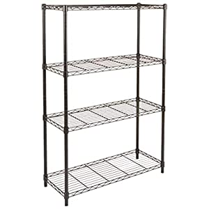 AmazonBasics 3-Shelf Shelving Storage Unit on 3″ Wheel Casters, Metal Organizer Wire Rack, Black (23.2L x 13.4W x 32.75H)