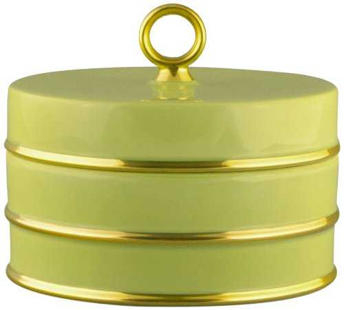 Maison Alma AR106CG Arienne Collection Decorative Trinket/Candy Box, Celery Limoges Porcelain with 24 Karat Gold Accents