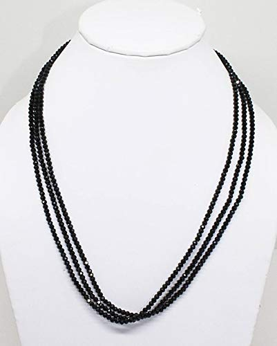 Natural Gemstone 3 Line Black Spinel Feceted Rondelle 3 MM Approx. Rondelle Beads Full Strand Super Fine Quality Beads Complete Necklace by Gemswholesale (Spinel Necklace Bead Black)