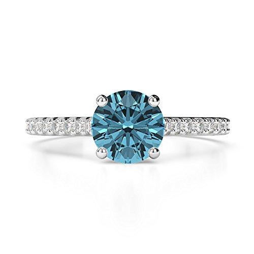 Or blanc 18carats 1CT G-H/VS sertie de diamants ronds Cut aigue-marine et bague de fiançailles Agdr-1213
