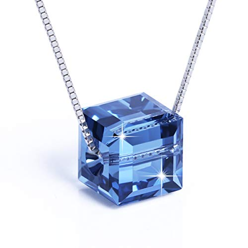 PLATO H Sterling Silver Necklace for Women Crystals from Swarovski 18