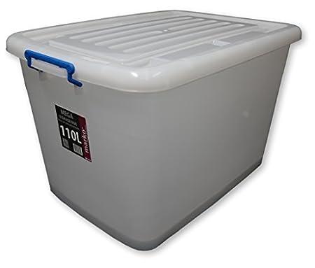 110L Large Plastic Storage Boxes 110 LTR (Litre) with Wheels u0026 Clip Lids  sc 1 st  Amazon UK & 110L Large Plastic Storage Boxes 110 LTR (Litre) with Wheels u0026 Clip ...
