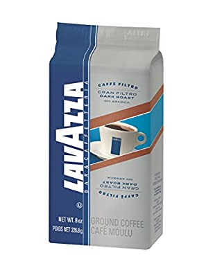 Lavazza Gran Filtro Ground Coffee Blend, Dark Roast, 8-Ounce Bags (Pack of 5)