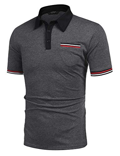 COOFANDY Men's Short Sleeve Polo Shirt Striped Sleeves Regular Fit Casual Polo T Shirt with Pocket Deep Grey