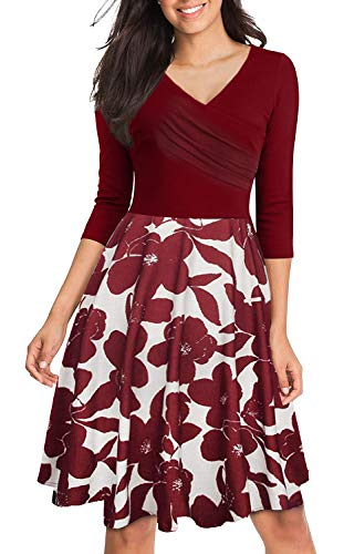 Womens Cross V Neck Half Sleeve Patchwork Floral Swing Elegant Casual Dress Wine Red - Sleeve Elegant Half