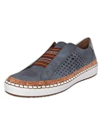 Jesper Women Fashion Casual Hollow-Out Breathable Deck Shoes Round Toe Slip On Flat Sneakers