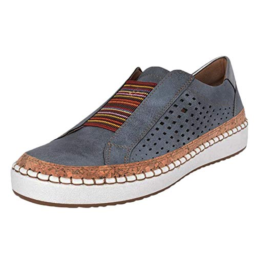 TOOPOOT Sneakers for Women, New Casual Hollow-Out Round Toe Slip On Shoes Flat Blue