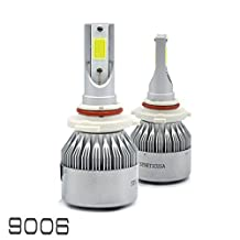 All in One 100W 10000LM CREE LED Headlight DRL Kit/High/Low Beam/Fog Lamp Kit Light Bulbs White 9005 9006 9007 H4 H10 H11 H13 (9006)