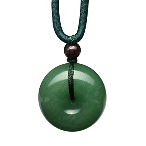 Parma77 Donut Light Green Dyed Jade Pendant Necklace Jewelry Lucky Protection Powers Amulet (Chinese Jade Necklaces)