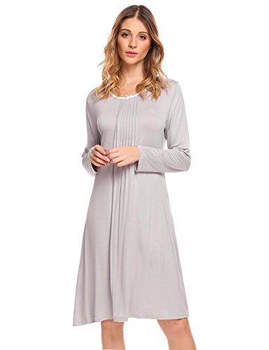 MAXMODA sleepwear dress for women long sleeve lace cotton chemise night dress Grey XXL Cotton Long Sleeve Chemise