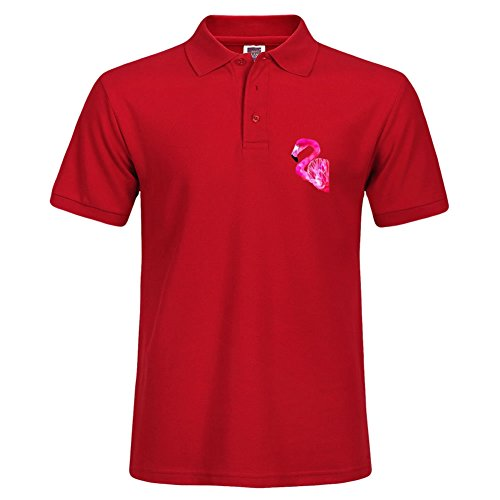 Solid Polo With Flamingo Printing Red Summer Sport Shirt Size - Gulfport Outlets