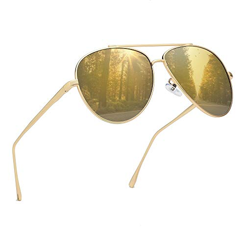 Premium Military Polarized Aviator Sunglasses Metal Frame Brand Unique Design Sun glasses For Mens Womens 100% UV Protection (Gold Frame/Champagne Lens, 58)