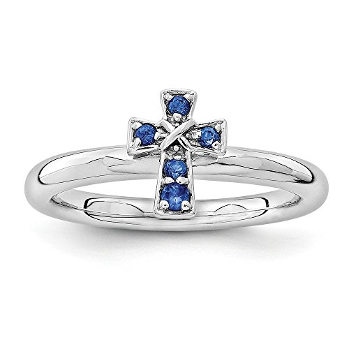 Sterling Silver Stackable Expressions Rhodium Created Sapphire Cross Ring Size (Antique Sapphire Cross)