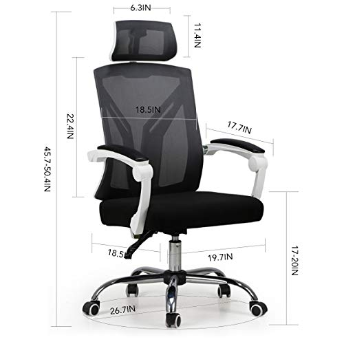 Hbada Ergonomic Office Chair - High-Back Desk Chair Racing Style with Lumbar Support - Height Adjustable Seat,Headrest- Breathable Mesh Back - Soft Foam Seat Cushion, White by Hbada (Image #6)