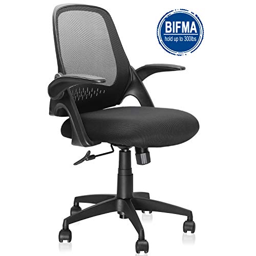 Mid-Back Mesh Office Chair, Ergonomic Desk Chairs Swivel Computer Task Chairs with Adjustable Height and Flip-up Armrest - Lumbar Support and Sponge Cushion in Black (Black)