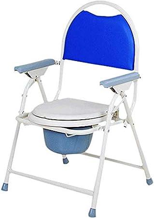WZCC Asiento de inodoro WC plegable móvil de ancianos Presidente higiénico silla simple mujer embarazada se sientan de lado Silla WC