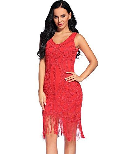 Flapper Girl Women's 1920s Gatsby Art Deco Sequined Embellishment Fringed Flapper Dress (S, Red)]()