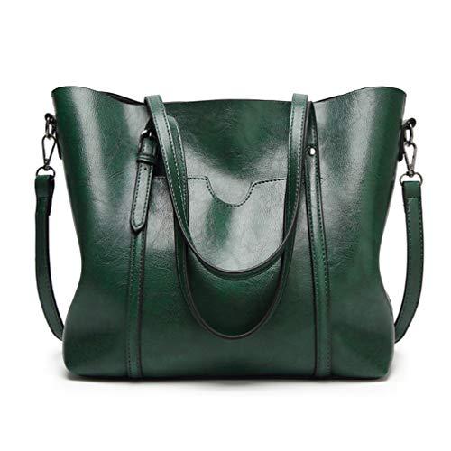 Pahajim Women Top Handle Handbags Soft Leather Work Tote Large Shoudler Bag Satchel Bag(Green)
