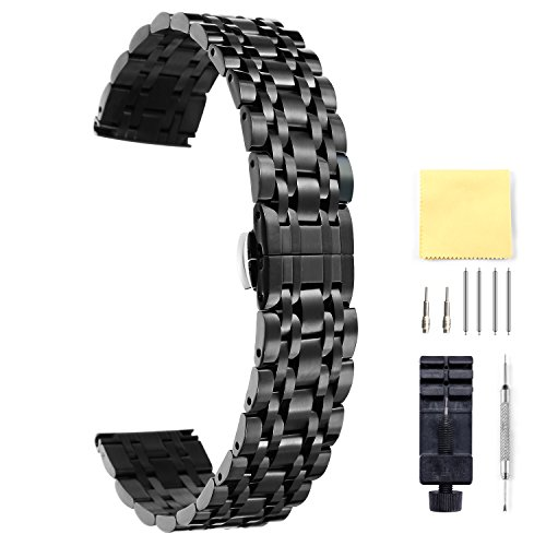 BINLUN Stainless Steel Watch Band 6 Color(Gold, Silver, Black, Rose Gold, Gold Tone, Rose Gold Tone) 17 Size (10mm - 26mm) (21mm Steel Watch Band)