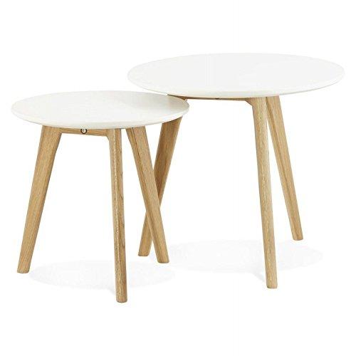Tables basses design gigognes ART en bois et chêne massif (blanc)