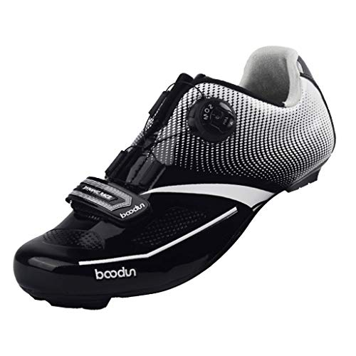 kesoto Professional Road Bike Shoes with Quick Lace Buckle for Men - Black 45