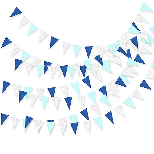 - Boys Baby Shower Birthday Party Blue Bunting Pennant Banner Carnival Party Streamers Supplies Flags Banners Decorations