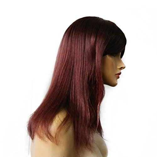 Namecute Women Long Heat Resistant Japanese Kanekalon Synthetic Cosplay Straight Auburn Red Wigs