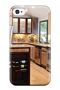 ElsieJM YUoxrZa660TPacy Protective Case For Iphone 4/4s(modern Kitchen With Island Wine Rack And Golden Brown Mosaic Backsplash)