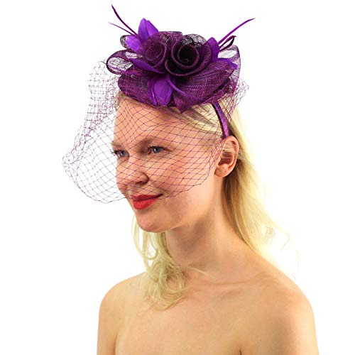 Sassy Netted Veil Sinamay Feathers Fascinators Headband Cocktail Derby Hat -