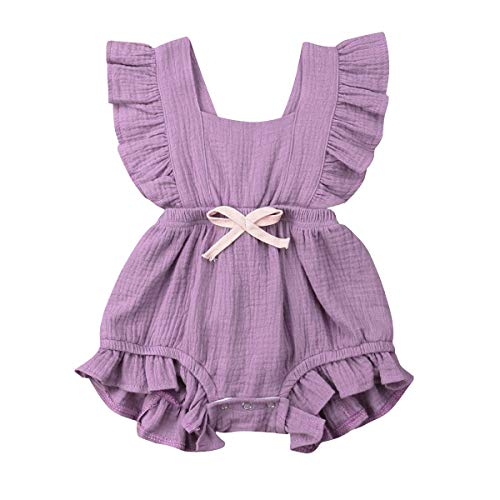 YOUNGER TREE Toddler Baby Girl Ruffled Collar Sleeveless Romper Jumpsuit Clothes (Light Purple, 12-18 -