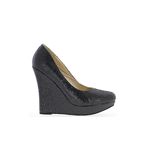 Schuhe schwarz kompensiert Frauen liegen 12cm Absatz