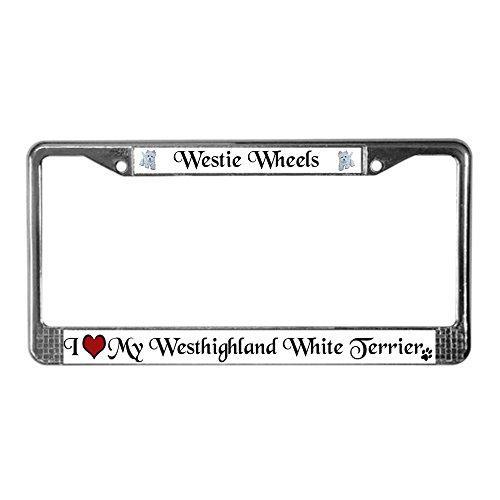 CafePress Westie Chrome License Plate Frame, License Tag Holder ()