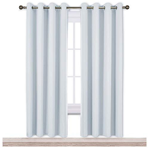 NICETOWN Room Darkening Curtains for Living Room - Easy Care Solid Thermal Insulated Grommet Room Darkening Curtains/Panels/Drapes for Bedroom (2 Panels, 52 by 72, Greyish White)