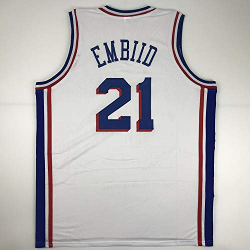 (Unsigned Joel Embiid Philadelphia White Custom Stitched Basketball Jersey Size Men's XL New No Brands/Logos)