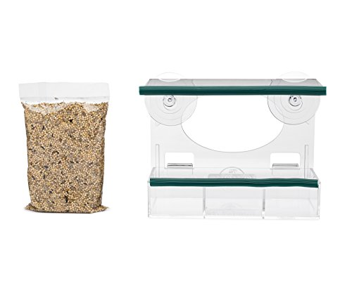 Window Bird Feeder Kit - Bird Food Included - Premium Quality Clear Acrylic - Removable Tray- Great Gift - Fun for All
