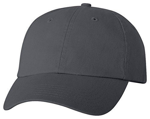 Profile Chino Twill Cap (Valucap Adult Bio-Washed Unstructured Cap, Adjustable, Charcoal)